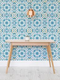faux kitchen tile wallpaper. add real oomph to your kitchen with this tile effect wallpaper design. bursting colour faux