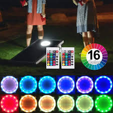 Multi Color Changing Led Lights Cornhole Lights 16 Multi Color Change Led Corn Hole Night Lights Regulation Size Cornhole Board Ring Lights With Remote Control Gift Ideal For