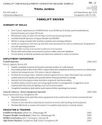 Sample Forklift Operator Resume