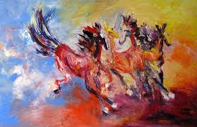 impressionist oil painting animal horse original art gallery abstract expressive oil paintings original acrylic paintings acrylic knife paintings