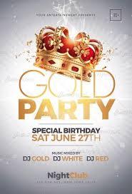 Part Flyer Gold Party Flyer Templates Nightclub Creative Flyers