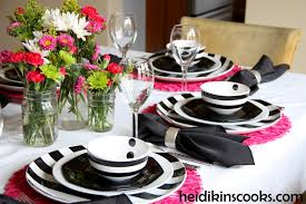 Valentines Table Setting_Black White Stripe with Hot Pink  3_heidikinscooks_Feb 2014