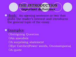 the five paragraph essay a step by step introduction ppt  the introduction the introduction important definitions hook an opening sentence or two that grabs the