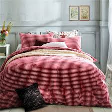 home textile100 high quality cotton knitting cherry red gingham bedding sets queen size king size duvet cover bed sheet pillowcase comforter cover king