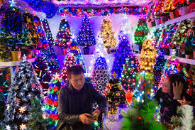 christmas trees at a stall in the festival arts section of arts of crafts inside the