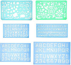 Lettering Templates Set Of 2 Artistic Drafting Templates And 4 Abc Lettering Stencil Plate
