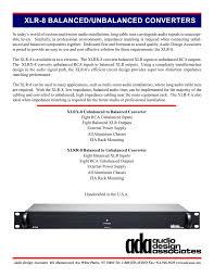 Professional Design Associates Xlr 8 Cut Sheet Audio Design Associates Manualzz Com
