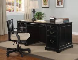 home office black desk. Executive Home Office Desks With Black Shine Wooden Desk  Hutch And Drawer Home Office Black Desk E
