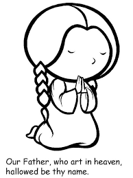 Small Picture Cartoon of Little Girl Lords Prayer Coloring Page Coloring Sky