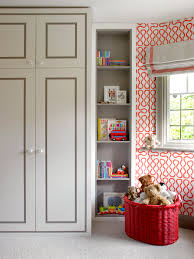 Kids Fitted Bedroom Furniture Childrens Bedroom With Red Patterned Wallpaper And Fitted