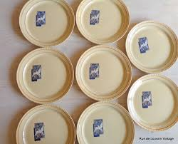 set of eight art deco plates boch frères 'colombe' vintage