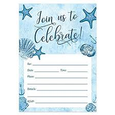 Beach Invitation Digibuddha Beach Invitations With Envelopes Pack Of 25 Any Occasion Large 5x7 Fill In Birthday Party Baby Shower Housewarming Bridal Shower