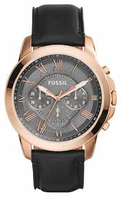 fossil mens grant black leather strap watch fs5085 fossil fs5085