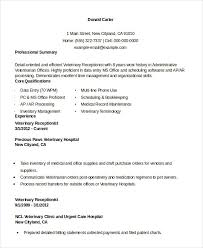 resume for veterinary receptionist