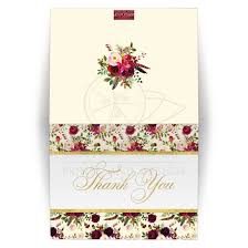 Personalized Beautiful Burgundy Watercolor Flowers And Feathers Wedding Thank You Card Simulated Gold