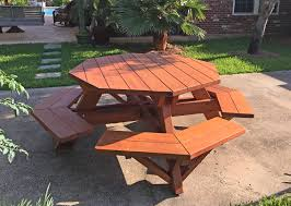 octagonal picnic table options 5 diameter tabletop attached benches old