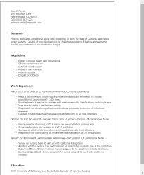 Resume Templates: Correctional Nurse