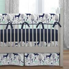 Baby Boy Bedding | Boy Crib Bedding Sets | Carousel Designs & Navy and Mint Woodlands Crib Bedding Adamdwight.com