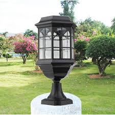 2019 garden solar power led post lights led garden lamps with aluminum toughened glass lamps cover automically light for outdoor villa deck from