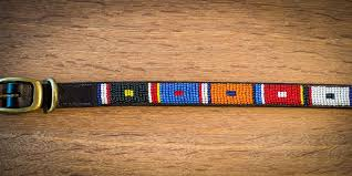 masai beaded leather dog collars 006