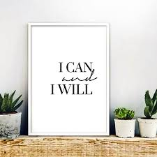 i can and i will minimalist print instant download inspirational quote calligraphy wall art typography printable black white office decor black and white office