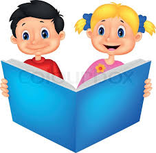 vector ilration of children cartoon reading a book stock vector colourbox