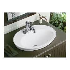 serif ceramic oval drop in bathroom sink with overflow