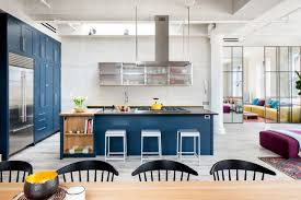 Light Blue Kitchen Royal Blue Kitchen On Light Color Floors Is A Modern Contemporary