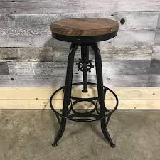metal industrial furniture. Adjustable Industrial Stool In Acacia Wood And Metal Furniture N