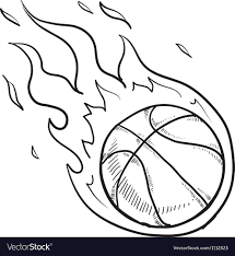 Basketball Drawing Pictures Doodle Basketball Fire Royalty Free Vector Image