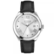 watch versus versace men skin sbe01 wk silver sport dater elmont orologio da donna uomo di marca versus versace codice modello sbe01 cassa in acciaio di diametro 40mm e cinturino color nero in pelle