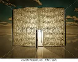 open door painting. Surreal Painting. Opened Door In Open Book With Story. 3D Render Painting V
