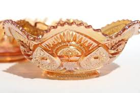 Carnival Glass Patterns Delectable Vintage Marigold Iridescent Luster Carnival Glass Bowl Twins