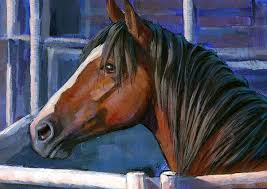 painting of a rodeo bronc horse by lesley spanos