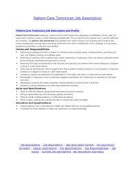 Patient Care Technician Job Description For Resume Patient Care Technician Job Description Samples Nurse Resume 1