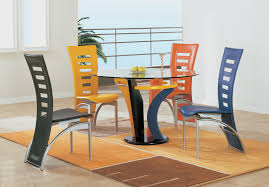 dining chairs set of 4. Cheap Colorful Modern Dining Chairs Set Of 4 Pieces And Round Glass Table Above Transitional Rug Hardwood Floor