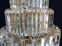 spectacular murano multi tiered glass prism chandelier this huge light fixture is almost 5 feet high and has hundreds of high quality 3 sided very sparkly