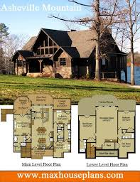 Rustic lake house plan with an open living floor plan featuring vaulted ceilings