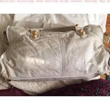 Replica Designer Bags Excellent Balenciaga Fake Parttime Beige Leather Shoulder Bag Replica Designer Handbags Uk