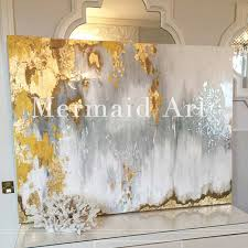 Handpainted Abstract Gold Leaf Art with Gray and White Ombre Pictures  Handmade White and Silver Chandelier