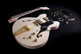 diy semi hollow electric guitar kit for jazz double cutway guitar kit with flamed maple top rosewood fingerboard gold hardware bass guitar electric