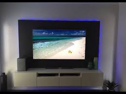 diy floating wall unit with led lighting for 70 tv media room