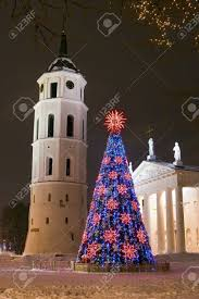 Bell Tower Tree Lighting Night View Of The Christmas Tree And Bell Tower On A Cathedral