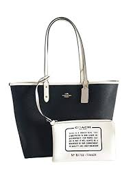 COACH Reversible City Tote in Coated Canvas (Black White Gold)