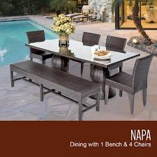 wicker patio dining furniture. Napa Rectangular Outdoor Patio Dining Table With 4 Chairs And 1 Bench Wicker Furniture D