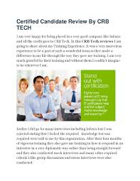 review by certified candidate of crb tech by janvi chouhan issuu