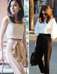 Stylish white pants ideas for ladies Outfit Ideas Outfit Ideas For Short Girls Baggy Trousers And Ruffled Tops Stylecraze Outfit Ideas For Short Girls How To Dress If You Are Petite Or