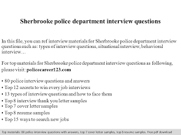 Sherbrooke Police Department Interview Questions In This File You