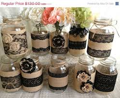 Mason Jar Decorations For Bridal Shower 60x rustic burlap and black lace covered mason jar vases wedding 21