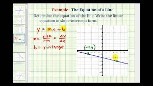 ex 2 find the equation of a line in slope intercept form given the graph of a line